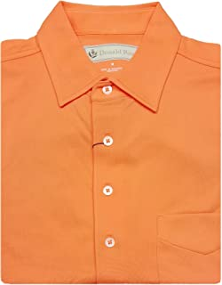Mens Short Sleeve Polo Classic Pique, SELF Collar, Left Pocket - Tangerine