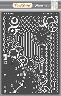 Craftreat Home Stencils for Craft and Art- Clock and Key - Size A4 - Reusable DIY Stencils for Painting on Wood - Home Dec...