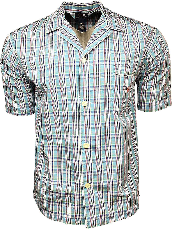 Polo Ralph Lauren Men's Sleep Tops 100% Cotton Button Up, Plaid Shirt P506SR Blue (Medium)