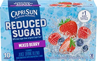 Capri Sun Reduced Sugar Mixed Berry Juice, 10 ct. 6 oz. Pouches (Pack of 4)
