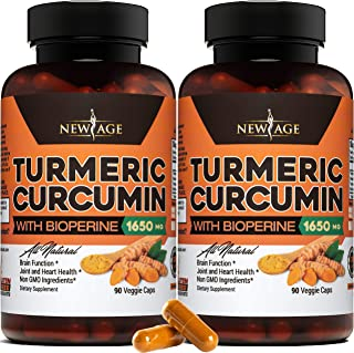 Turmeric Curcumin with Bioperine 1650mg by New Age - 2 Pack - Premium Joint & Healthy Inflammatory Support with 95% Standa...