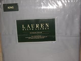 Lauren Ralph Lauren 4pc KING Sheet Set Mist Solid Blue Gray Dunham Sateen 300 TC
