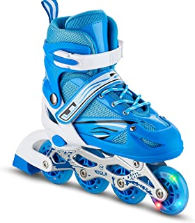 MOSILA Inline Skates–Children Roller Skates for Girls and Boys–Easily Adjustable,Fits US Kids Size 3-5,6-8 Expands As Your Child Grows-Light Up Front Wheel and Low Friction Wheels