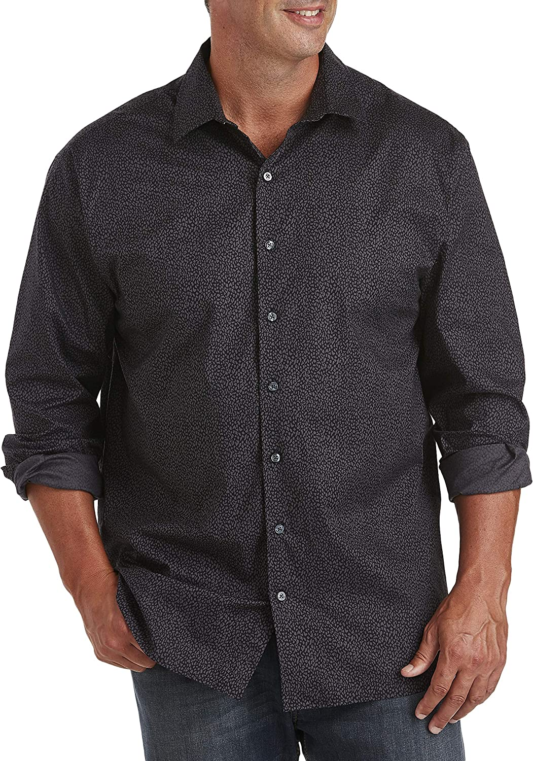 DXL Synrgy Big and Tall Stretch Sport Shirt, Blackened Pearl