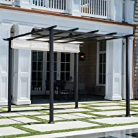 Hanover Reed Aluminum and Steel Pergola with Adjustable Sling Canopy