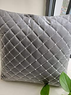 Yvonicky Set of 2 Fashion PU Leather Diamond Pattern Throw Pillow Covers Grey Sofa Sham Auto Cushions 5 Colors1818 inch (Grey)
