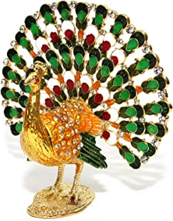 Multi-color Peacock 5-inch Enameled Figurine, 24K Gold Trinket Jewelry Box with Swarovski Crystal, Hand-made (Peacock)
