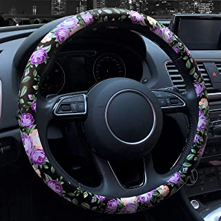 Binsheo Leather Floral Car Automotive Steering Wheel Cover,for Women Girls Ladies,Anti Slip Universal 15, Chinese Style, B...