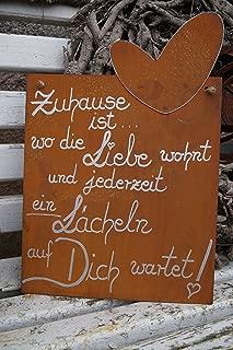 Edelrost Spruchtafel Tafel Schild Gartendeko Metall rostig mit Schmetterling