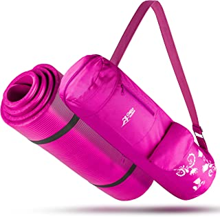 """Go Go Active High Density ½ Inch Thick Mat – All-Purpose, Durable & Comfortable NBR Foam Yoga Mat With Carrying Strap & Matching Bag – Long, 71"""" Mat For Yoga, Pilates & Fitness"""