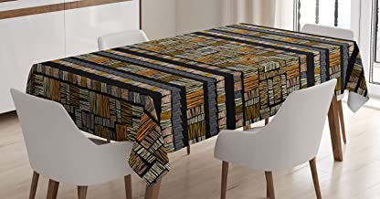 Ambesonne African Tablecloth, Traditional Hand Drawn Pattern in Grunge Style Striped Design Print, Rectangular Table Cover for Dining Room Kitchen Decor, 60