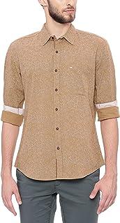 BASICS Slim Fit Tannin Khaki Printed Shirt