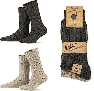 Go With Collection, 2 pares de calcetines de alpaca para hombre y mujer, calcetines gruesos de invierno, cálidos y esponjosos, calcetines de lana