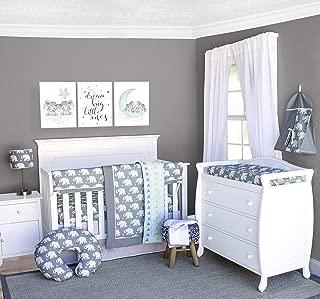 Pam Grace Creations 6Piece Crib Bedding Set, Grey/Indie Elephant, Standard Crib
