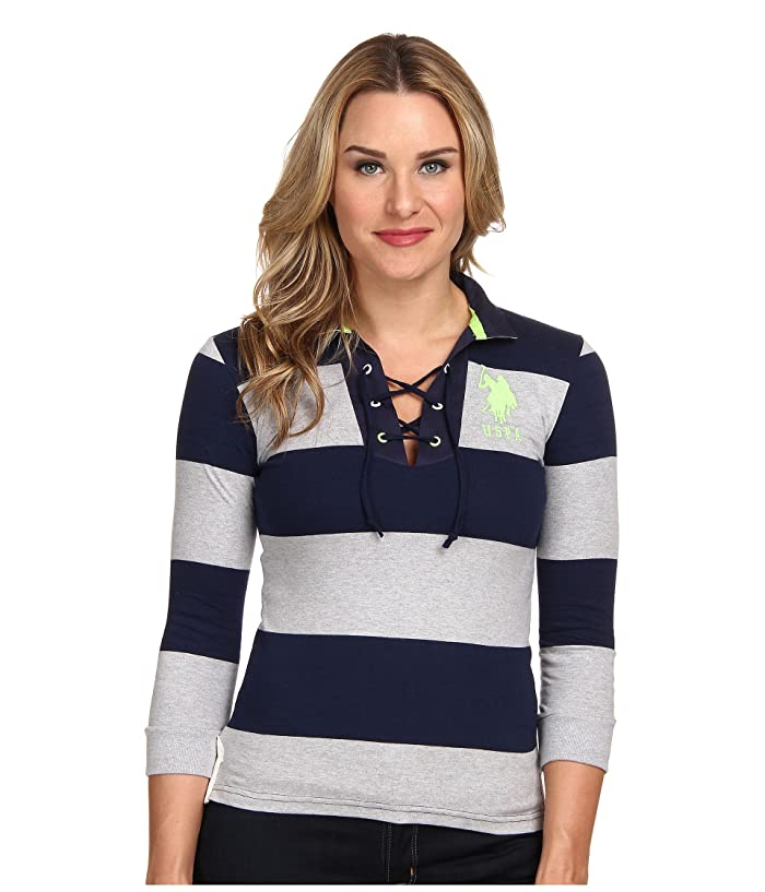 U.S. POLO ASSN. Long Sleeve Wide Stripe Combed Jersey Cotton Grommet Polo
