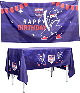 Ninja Warrior Kids Party Supplies: Ninja Warrior Birthday Banner and Tablecloth Party Decorations