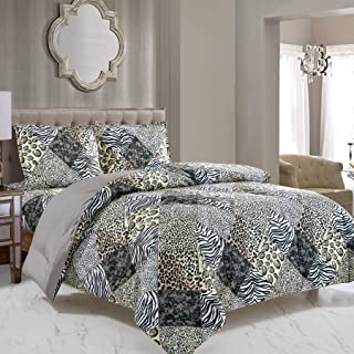 WPM 3 Piece Animal Print Comforter with Pillow Sham, Black White Gray Leopard Zebra Giraffe Jungle Forest Theme Design Que...
