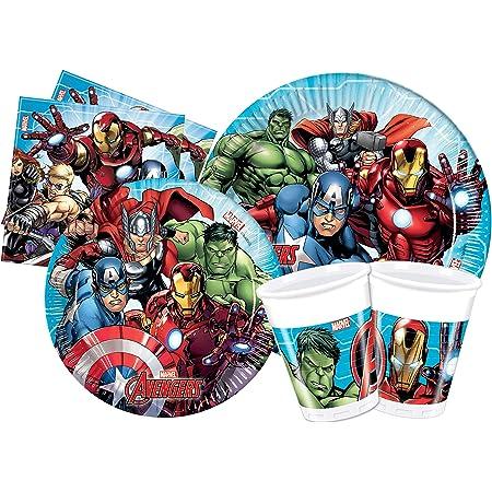 Ciao- Kit Mesa Fiesta Party Marvel Avengers Mighty para 24 personas (112 piezas: 24 platos de papel Ø23cm, 24 platos de papel Ø20cm, 24 vasos de plastico 200ml, 40 servilletas de papel 33x33cm), Y4952