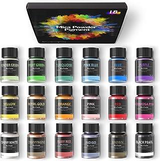 Mica Powder -18 Colors Pigment for Epoxy Resin, Soap Dye, Lip Gloss, Candle Making, Dye, Bath Bomb, Nails,Slime