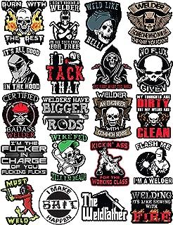 20 Welding Stickers for Welding Hood & Tool Box – 100% Vinyl Stickers – Stickers for Adults – Badass Welder Stickers Including, Flux, Rods, Hood, Flash, Fire, Welds
