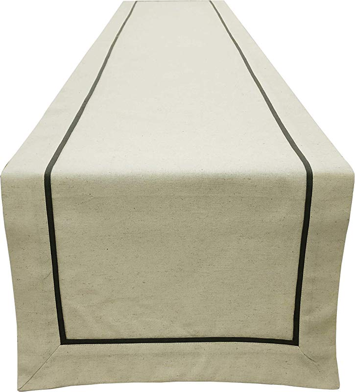 Linen Clubs Flax Table Runner With Charcoal Piping 16x120 Natural Charcoal