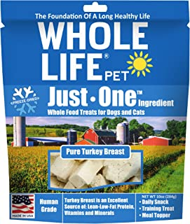 Whole Life Pet Products Single Ingredient USA Freeze Dried Turkey Breast Treats Value Pack for Dogs and Cats, 10-Ounce