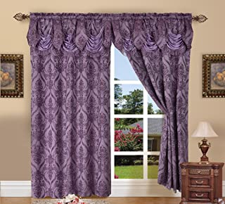 Elegance Linen Luxury Jacquard Curtain Panel Set with Attached Valance 54