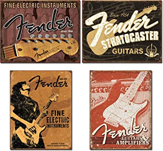 Fender Guitar Sign Bundle - Fine Electric Instruments with Headstock, Stratocaster, Fine Electric Instruments with Man and Weathered Guitars & Amplifier Tin Signs.
