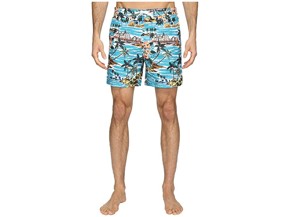 c43656291a Original Penguin Tropical Printed Fixed Waist Swim Shorts (Pagoda Blue) Men