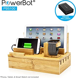 PowerBot PB5100 40Watt 8Amp 5 USB Port Rapid Charger Universal Desktop Charging Station w/ Bamboo Finish, Multi Device Charging Dock, Organizer Stand for Tablets, Apple Watch, Smartphones up to 5.7