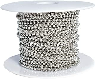 Ball Chain Spool #3 Nickel Plated Steel Bead Chain 2.4 Diameter 100 Feet (33 Yards) Included 30 Pc Matching connectors by ...