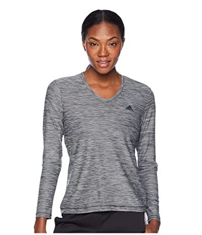 adidas Long Sleeve Tech T-Shirt (Carbon/Colored Heather/Black) Women