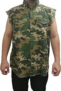 Men's Camo Sleeveless Denim Shirt Camouflage Shirt 2 Front Pockets