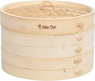 Helen's Asian Kitchen 97009 Food Steamer with Lid, 10-Inch, Natural Bamboo