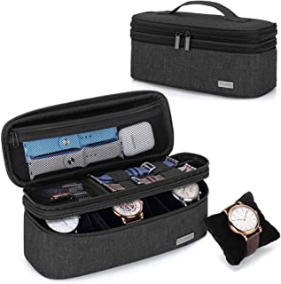 Teamoy Double-Layer Watch Box Organizer with Soft Padded Inner Liner, Travel Storage Case for Man Watches, Wristwatch and ...