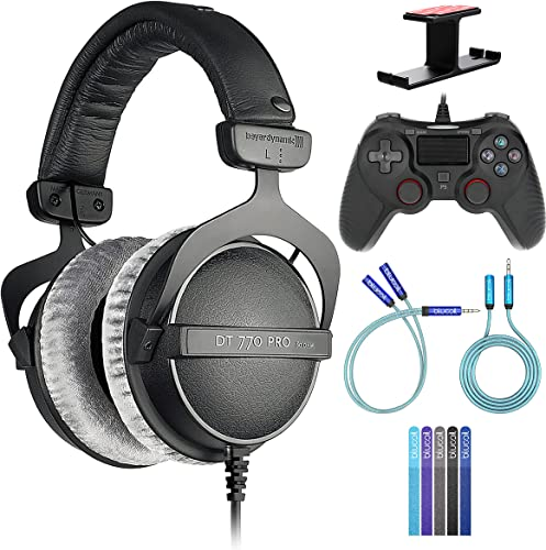 discount Beyerdynamic DT 770 PRO 80 Ohm Over-Ear Studio Headphones Bundle with Blucoil USB Gaming new arrival Controller for Windows/Mac/PS4, Y Splitter Cable, 6' 3.5mm Extension Cable, Headphone Hook, and 5X high quality Cable Ties outlet sale