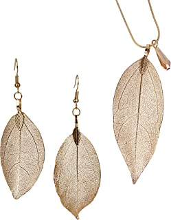Long Leaf Filigree Necklace Earrings with Faceted Crystal in Silver, Gold and Gun Metal & Rose Gold Snake Chain Gift for Women Collection
