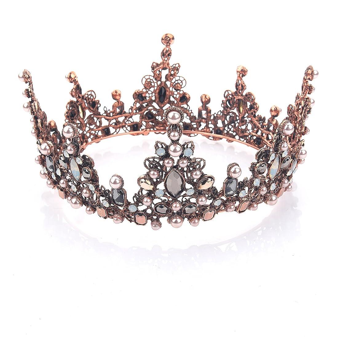 忘れる整理するうめきYeanティアラ 王冠 おうかん クラウン ヘアアクセサリー ゴールド レディース ガールズ 女性 プリンセス 結婚式 ウェディング 花嫁 披露宴 パーティー (Color-04)