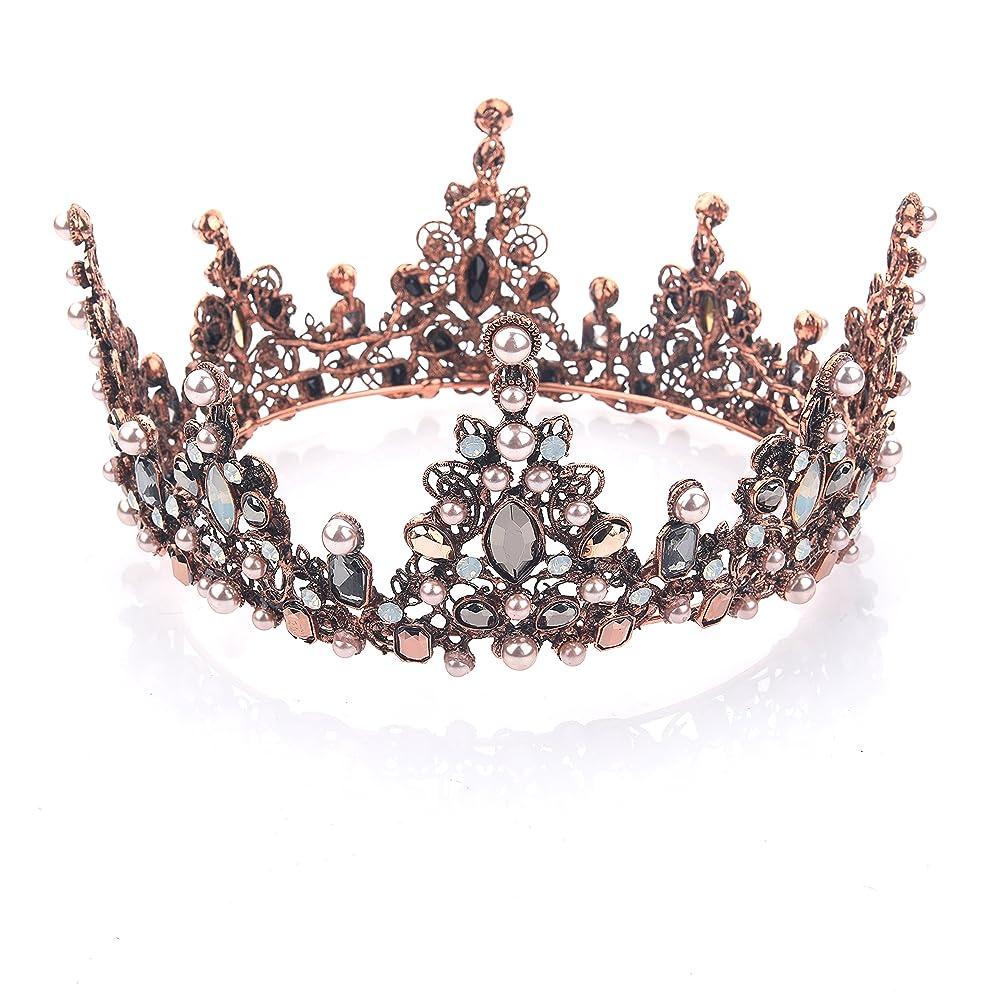 相反する力強いふさわしいYeanティアラ 王冠 おうかん クラウン ヘアアクセサリー ゴールド レディース ガールズ 女性 プリンセス 結婚式 ウェディング 花嫁 披露宴 パーティー (Color-04)
