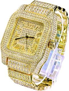 男式嘻哈奢华 Iced Out Techno 铺设手表金色重型边框表带仿钻 7967 G