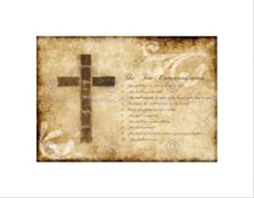 TEN COMMANDMENTS 10 CROSS CHRISTIAN RELIGIOUS QUOTE TYPOGRAPHY BLACK FRAME ART PRINT PICTURE + MOUNT B12X13859