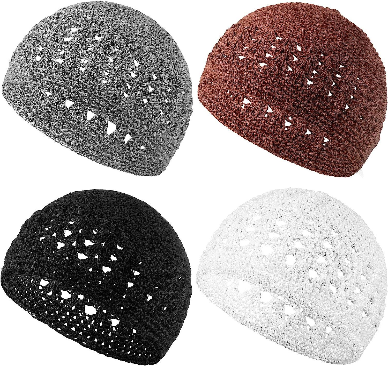 4 Pieces Knit Kufi Hat Crochet Beanie Skull Cap Knit Cap Knitted Stretchy Crochet Hat for Men Women