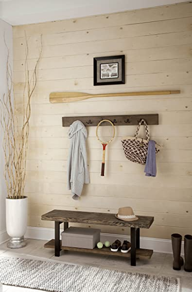 Sonoma 48 Reclaimed Wood And Metal Wall Mounted Coat Hook And Bench Set Natural