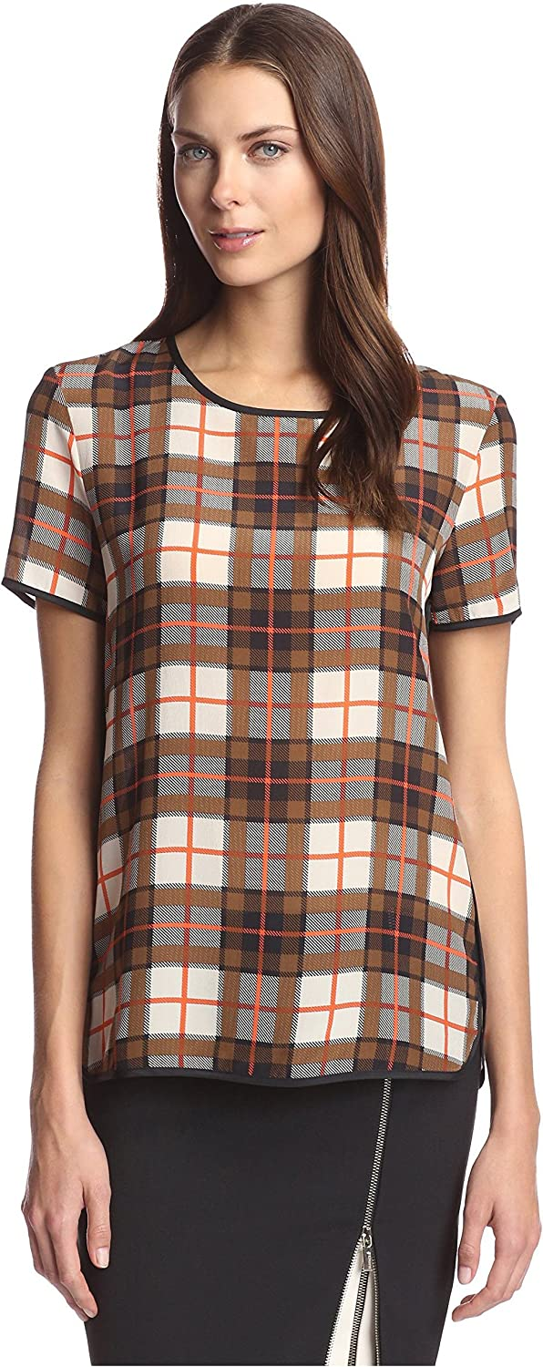 Beatrice B. Women's Plaid Silk Top