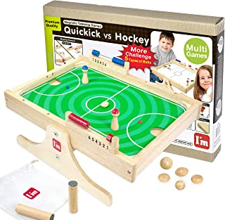 I'm Quickick: Magnetic Multi Tabletop Football VS Hockey Wooden Board Games for Kids and Family