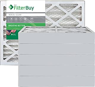 FilterBuy 16x25x4 MERV 8 Pleated AC Furnace Air Filter, (Pack of 6 Filters), 16x25x4 – Silver