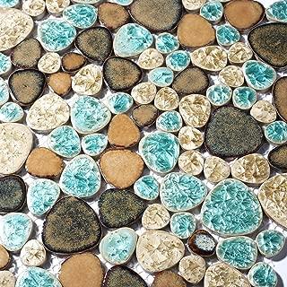 Pebble Porcelain Tile Fambe Turquoise Green Beige Shower Floor Pool Alley Tiles Mosaic TSTGPT005 (4 x 6 Inches Sample)