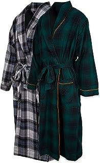 Andrew Scott Mens 2 Pack Long Sleep -Sauna Robe / 100% Cotton Flannel Brush Warm Bathrobe