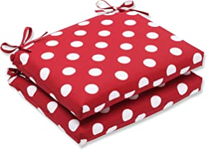 Pillow Perfect Indoor/Outdoor Red/White Polka Dot Seat Cushion, Squared, 2-Pack