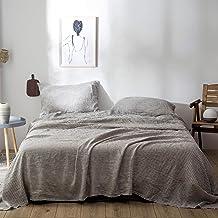 طقم ملاءات سرير من الكتان الفرنسي بنسبة 100% من Rore مكون من 4 قطع (2 أغطية وسائد، 1 ملاءة مسطحة، 1 ملاءة مثبتة) I تصميم م...